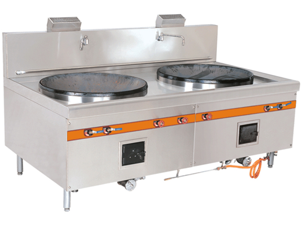 Double-ended stir-frying stove